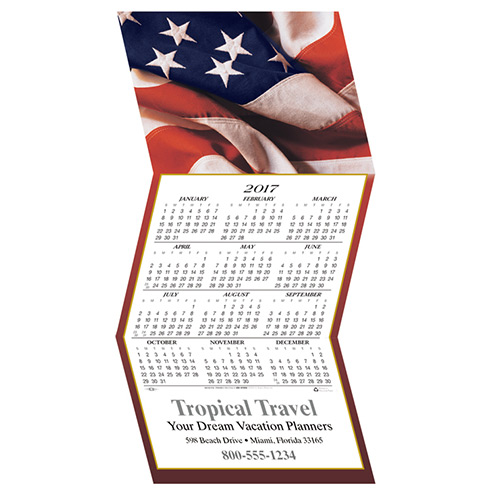 American Flag Calendar Greeting Card White